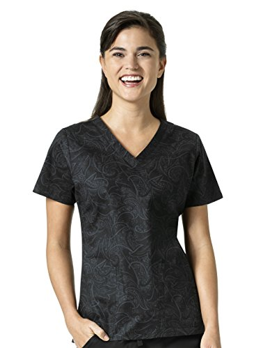 Signature Collection By Vera Bradley Women's Maya V-Neck Paisley Print Scrub Top Sketch Scroll Black (Womens Signature Collection)