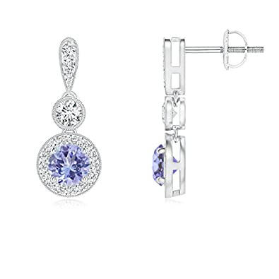 Angara Milgrain-Edged Tanzanite and Diamond Halo Dangle Earrings in Platinum 8Ix5mdafwS