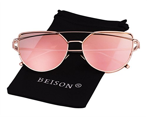 Beison Womens Cat Eye Polarized Sunglasses Flat Lens Metal Frames (Gold frame / Pink mirror, As - Sunglasses 3rd Eye