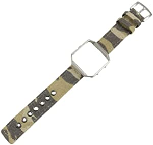 UKCOCO Compatible for Fitbit Blaze Watch Band with Watch Case - Canvas Watch Replacement Strap Wristband Compatible for Fitbit Blaze (Camouflage Yellow Watch Band + Silver Watch Frame)