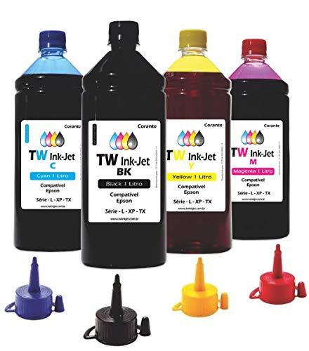 4 Litros de Tinta P/Epson EcoTank L380 L395 L396 TW Ink-Jet