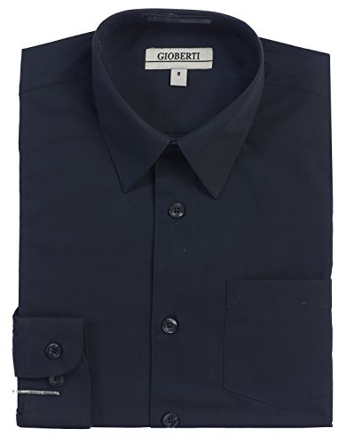 (Gioberti Big Boys' Long Sleeve Dress Shirt, Navy, 12)