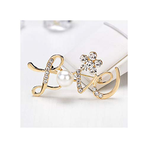 (Flower Grape Love Wing Brooch Pins Rhinestone Simulated Pearl Bow Brooches for Women Jewelry,4A-2.7x 5.1 cm)