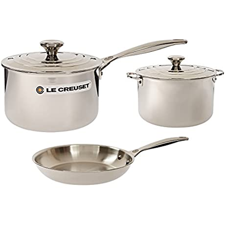 Le Creuset 5 Piece Tri Ply Stainless Steel Cookware Set