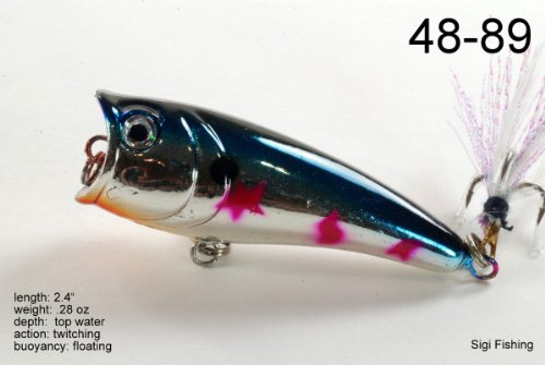 """Akuna Top Dog Series 2.4 inch Popper Lure in color """"Purple Plum"""" (Five BP 48-89) Review"""