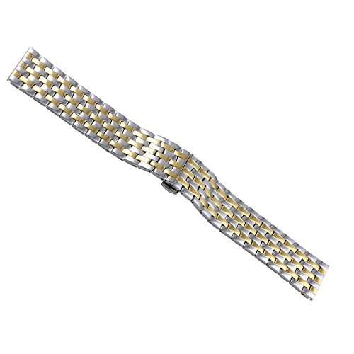 16mm Women's Luxury Unique Cool Two Tone Gold Watch Bands Replacements Solid 316L Stainless Steel Satin Polished Straight End ()