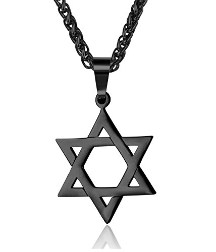 Udalyn Star of David Pendant Necklace Stainless Steel Jewish Jewelry for Men Women Religious 20