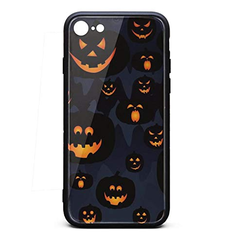 iPhone 7 Case iPhone 8 Case Halloween Pumpkin scary-01 9H Tempered Glass Back Cover Soft TPU Frame Scratch Resistant Shock Absorption Cover Case Compatible for iPhone 7/8 -