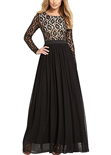 Ssyiz Women's Long Sleeve Lace Floral Chiffon Party Dress Evening Gown (Provide Size,Custom Made Dresses) Black Small