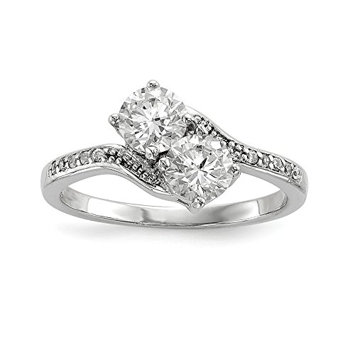 (925 Sterling Silver Two Stone Cubic Zirconia Cz Bypass Band Ring Size 6.00 Fine Jewelry Gifts For Women For Her)