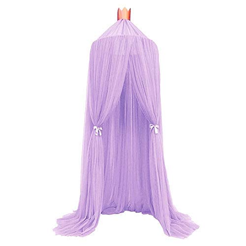 Wez Bed Linings Mosquito Net Lace Four Corner Student Canopy Bed Mosquito Net Four Open Dream Mosquito Net for Children,White,Purple
