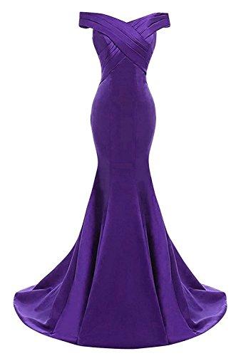 Sirène Épaule Au Large Des Femmes Dkbridal Robes De Fête Satin Des Robes De Soirée De Bal Formelle Violet