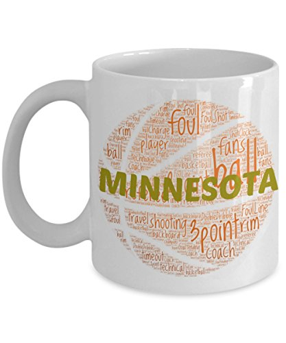 MINNESOTA GOLDEN GOPHERS Basketball mug - coffee tea cup for college sports fan - ceramic team gift -- NCAA college basketball -- 11 ounce or 15 ounce white
