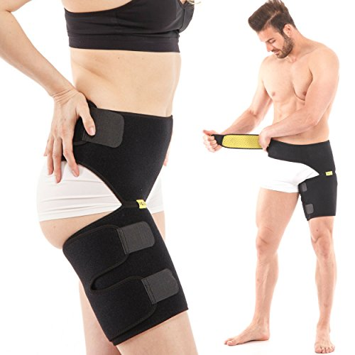 Groin Support, Compression Wrap for Sciatica Nerve and Hip Pain Relief, Adjustable UNISEX Brace for Thigh Hamstring Strain Injury