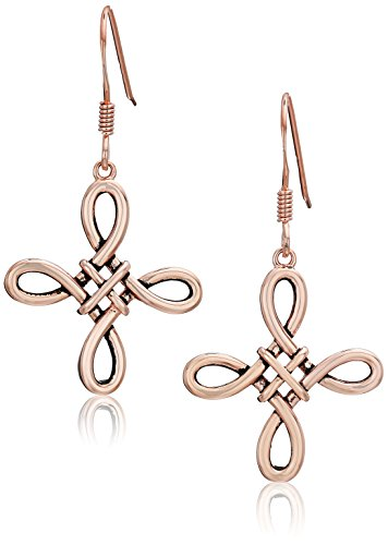 Rose Gold Plated and Black Oil Sterling Silver Celtic Knot Drop Earrings