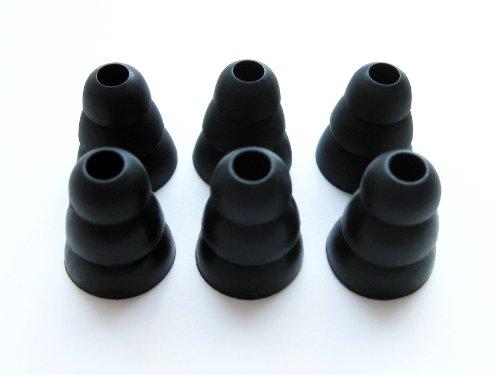 6pcs Large  Black Soft Triple Flange Replacement Eartips