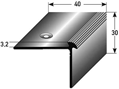 3 metros (3 x 1 m) - Perfil de escalera / Perfil angular (40 x 30 x 3 mm) aluminio anodizado, perforado: Amazon.es: Hogar