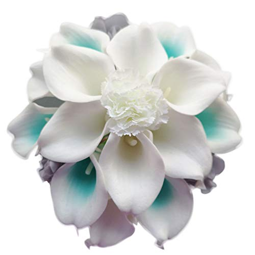 Lily Garden Artificial Wedding Flower Set Turquoise Picasso Calla Lily with Silk Carnation and Hydrangea (Bouquet 15WTG)