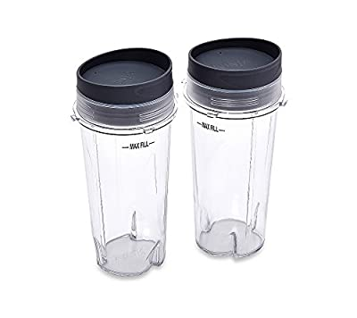 Ninja Set of 2 16-oz. Single Serve Cups with Lids for Ninja BL660 Pro Blender
