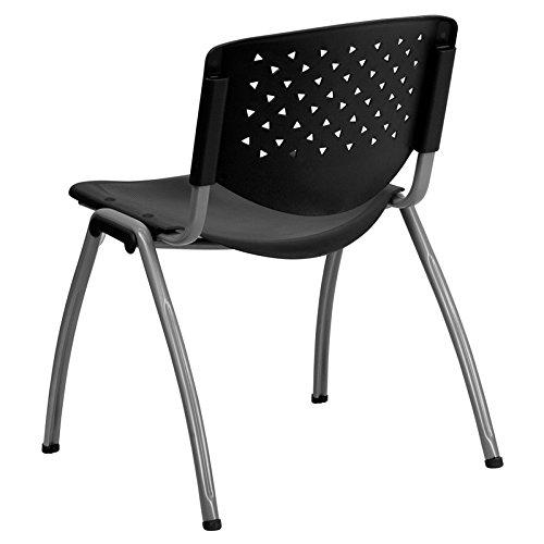 Oliver 880 lb Capacity Black Plastic Stack Chair with Titanium Frame Emma