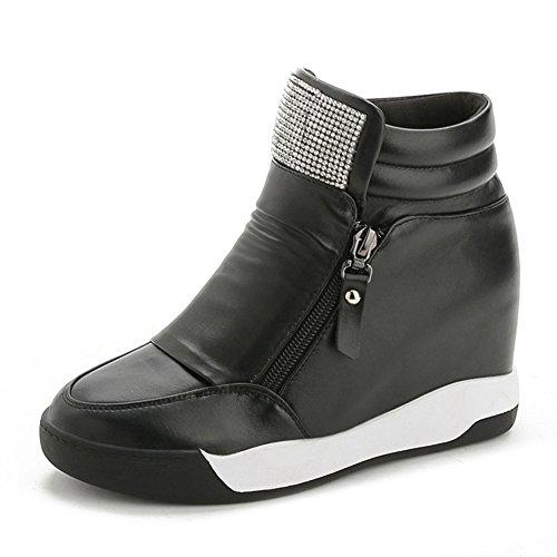 Hoge Top Wedge Platform Dames Sneakers Cz Rits Verborgen Hiel Casual Sportschoenen Zwart