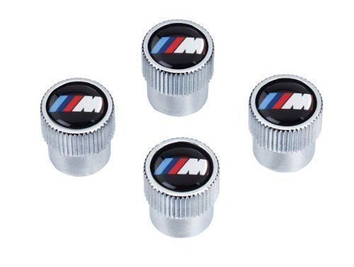 BMW M LOGO TIRE VALVE STEAM CAP SET CAPS NEW ORIGINAL SET OF 4 GENUINE OEM ()