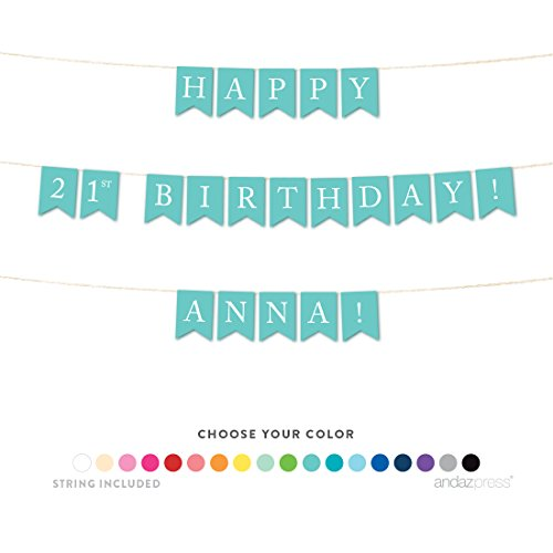 Andaz Press Personalized Hanging Birthday Party Pennant Banner with String, Happy 21st Birthday Anna!, 6-Feet, 1-Set, Custom Name and Color ()