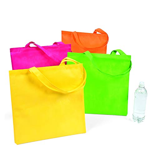 Fun Express Large Neon Tote Bags | 12 Count | Great for Birthday Gift Bag, Beach Reusable Totes, Travel Gym Grocery Shopping Use