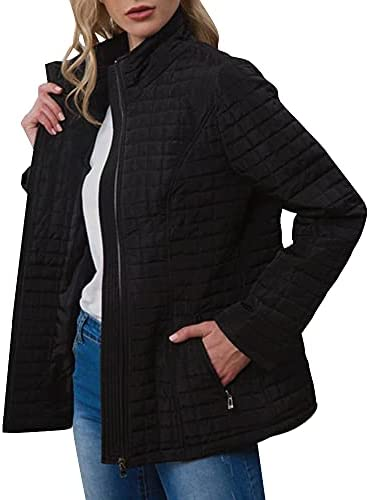 SHANFETL WOMENS STAND COLLAR SLIM COTTON COAT LONG SLEEVE PLAIN QUILTED JACKET