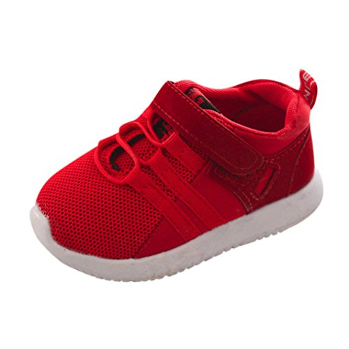 Toddler Kids Baby Boys Girls Soft Mesh Slip On Sneakers Sport Running Crib Shoes (1-2 Years Old, Red)