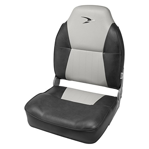 Back Boat Vinyl Seat (Wise Contoured Folding High Back Boat Seat, Grey/Charcoal)