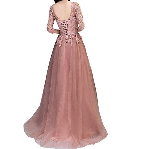 Ballkleider Festlichkleider Rosa Dunkel Rosa Langes Spitze Neuheit Promkleider Charmant Damen Abendkleider Dunkel 0wTxqq