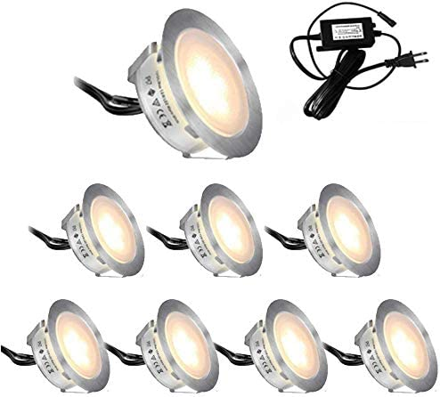 Lixada Recessed LED Deck Light Kit 10 Pack 12V Low Voltage Warm Natural White 22mm Waterproof IP67, LED in Ground Lights for Steps,Stair,Patio,Floor,Pool Deck,Kitchen Warm White 8pack 55mm