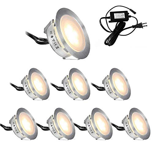 - Lixada Recessed LED Deck Lighting Kits 12V Low Voltage Warm White/Natural White φ22mm Waterproof IP67,Led in Ground Light for Steps,Stair,Patio,Floor,Pool Deck,Kitchen,Outdoor Led Landscape Lights