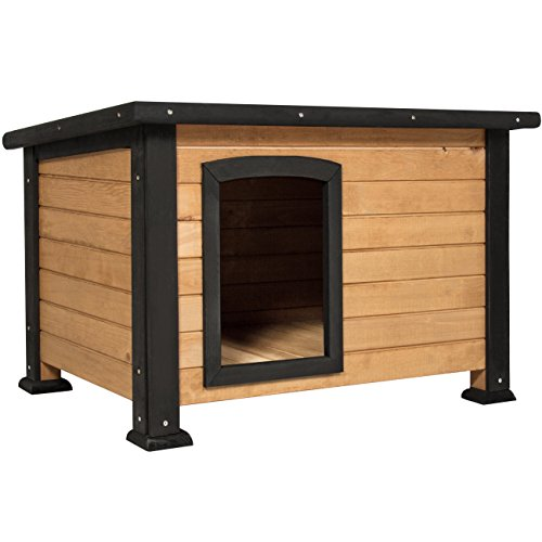 Best Choice Products Wooden Log Cabin Dog House w/Opening Roof for Small Dogs, Outdoor Kennel, Pet Shelter -Brown