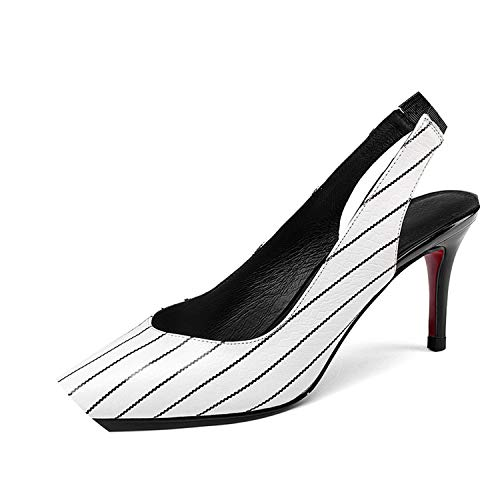 (Women Pumps Pointed Toe Footwear Shallow Female Shoes High Heels Office Shoes,White,4 )