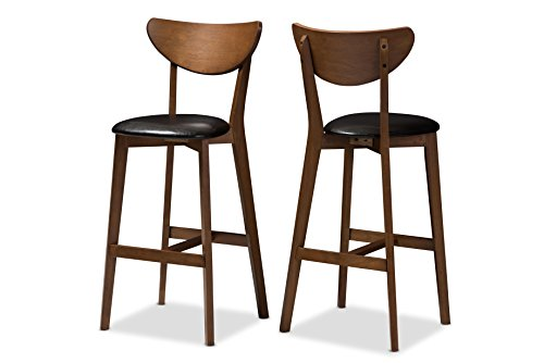 (Baxton Studio 144-424-8076-AMZ Elliane Bar Stool, Black/Walnut Brown)
