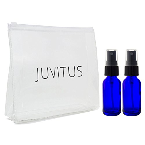 Cobalt Blue Glass Boston Round Spray Mister Bottle - 2 oz (2 Pack) + Clear Travel Bag (Cobalt Blue Glass Mister)