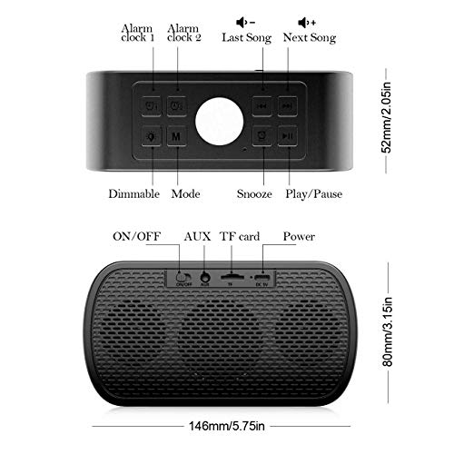 AMZLIFE Alarm Clock Radio with Wireless Bluetooth Speaker FM Radio Night Light 5 LED Digital Display Sleep Timer with Snooze Function for Heavy Sleepers Home Bedroom Kitchen Office Kids