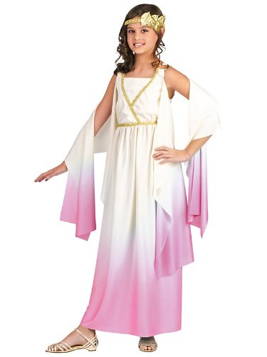Greek Goddess Child Costume White Pink - Medium -