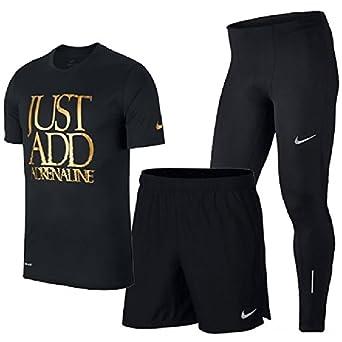 677cace571f6c Amazon   ランニングウェア 3点セットメンズ ナイキ NIKE 半袖Tシャツ 7インチショーツ ロングタイツ 男性用 ジョギング マラソン  トレーニング 923209 908789 856887 ...