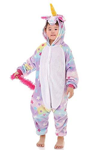 Fireside Girls Costume (YACHUN Unisex-Children Unicorn Pajamas Halloween Animal Cosplay Costume Kigurumi Star 140)