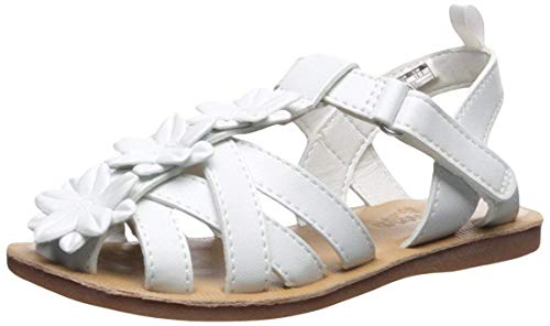 (OshKosh B'Gosh Perdita Girl's White Flower Fisherman Sandal, 3 M US)