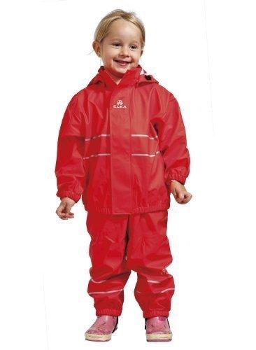Elka Regenanzug Regenhose + Regenjacke für Kinder, gestreift 2 Farben viele Größen 220g/Polyester (98, Rot)