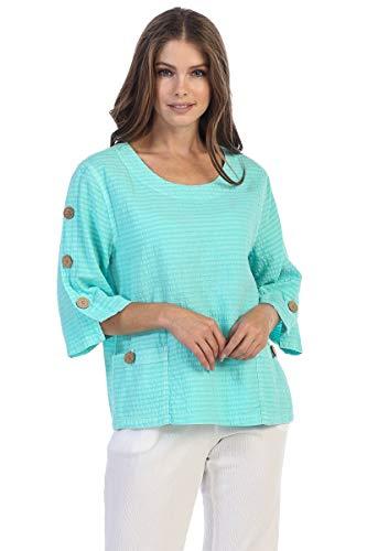 Focus Fashion Women's Cotton Seersucker 3/4 Sleeve Button Pocket Top Medium Mint ()
