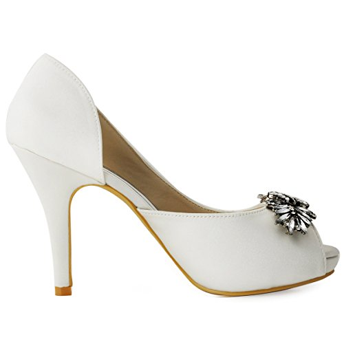 Elegantpark Women Open Toe Dorsay Platform Rhinestones Stiletto Proms Wedding Party Court Shoes Aa01 Ivory srp3Lb
