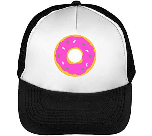 Round Doughnut Graphic Gorras Hombre Snapback Beisbol Negro Blanco