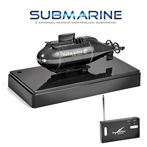 R/c Submarine - Jujuism Mini RC Submarine Remote Control Race Boat Model Ship Electronic Waterproof Diving in Pools Lake Ponds Toy Gift (Black)