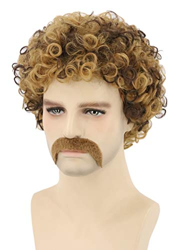 Topcosplay Men's Wig 70s Disco Dude Dirt Bag Wig & Moustache Short Curly Afro Shaggy Wig Blonde Mixed Brown -