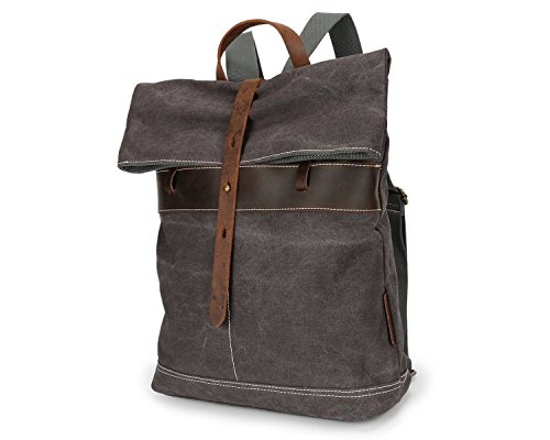 Brown Leisure Canvas Student Unisex Travel College Bag Backpack Shoulder Wind Retro vwwSqAB